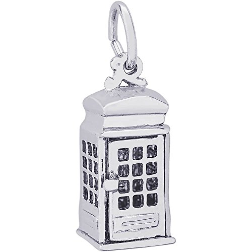 Rembrandt Charms Sterling Silver Phone Booth Charm (15.5 x 7.5 mm)