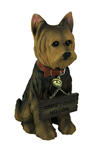 Yorkie Dog with Double Sided Sign Indoor/Outdoor Statue (Dog Welcome Statue)