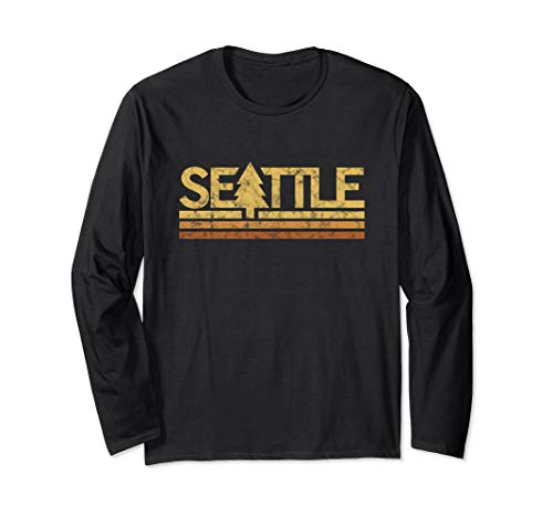 (Retro Vintage Seattle Long Sleeve T-Shirt)