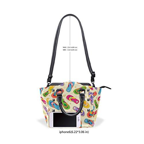 Handle PU Handbags Colorful TIZORAX Shoulder Top Leather Bags Flops Flip Women's qATx8UFw