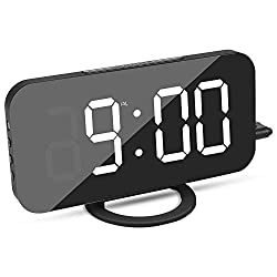 Alarm Clock, Bedroom LED Nightstand Clock for Heavy Sleepers, Digital Clock with Large and Clear LED Display, Mirror Surface, Automatic Dimming Mode, Simple Snooze Function, Dual USB Charger Ports