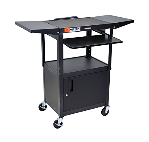 LUXOR AVJ42KBCDL Metal A/V Cart with Pullout Keyboard Tray, Cabinet and 2 Drop Leaf Shelves, Adjustable Height, Black ()