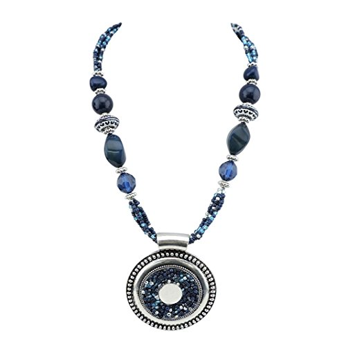 Bocar Statement Aquamarine Seed Beads Chunky Collar Pendant Necklace (NK-10343-navy Blue)