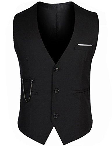 Designer Waistcoats - DOKKIA Men's Formal Dress Business Slim Fit Sleeveless Jacket Waistcoat Vest (X-Large, Black)
