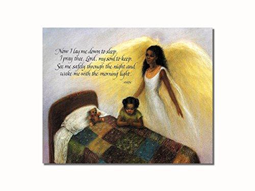 African American Black Guardian Angel Girl Praying Lord's Prayer Wall Picture 8x10 Art Print