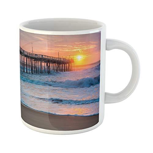 Tarolo 11 Oz Mug Coffee Mug Ceramic Tea Cup Orange Surf Serene Sunrise Over Fishing Pier at North Carolina Outer Banks Pink Atlantic Large C-handle Family and Office ()