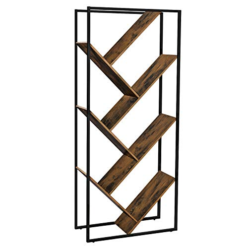 VASAGLE Industrial Bookshelf, Tree-Shaped Bookcase, Floor Standing Shelf in Living Room, Room Divider, Easy Assembly, Iron, Rustic Brown ULBC17BX (Dvd Trees Lounge)