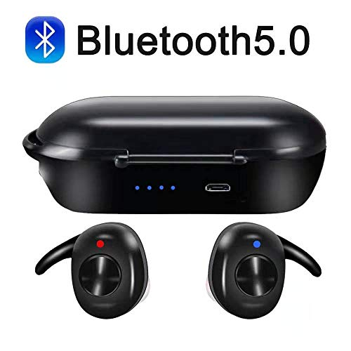 Bluetooth Headset Bluetooth 5.0 TWS HiFi Stereo in-Ear Sports Headphone with Microphone HD and Portable Charging Case for All Smart Electronics with Bluetooth Devices Black