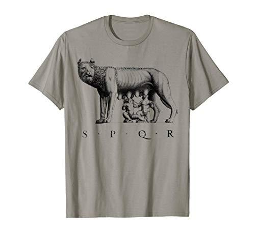 SPQR Roman T-Shirt Rome wolf Romulus Remus