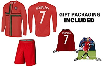 Ronaldo Jersey Portugal Home Long Sleeve Kids Soccer Cristiano Ronaldo Jersey Soccer Gift Set Youth Sizes ? Premium Quality ? Soccer Backpack Gift Packaging