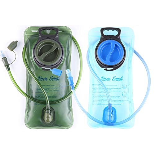 Baen Sendi 2 Pack Hydration Bladder 2 Liter/70 oz - Pack of 2(1 Piece Blue+1 Piece ArmyGreen) - BPA Free Hydration Pack ()