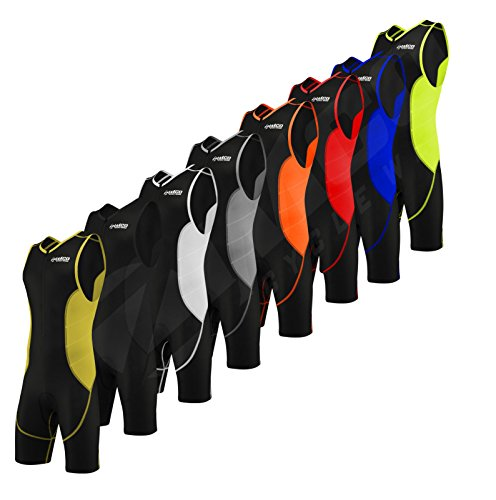 Zimco Elite Men Compression Triathlon Suit Racing Tri Suit Triathlon Short (Black/Red, Medium) (Suit Super Elite Tri)