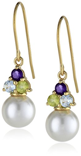 18k Yellow Gold Plated Sterling Silver Simulated Pearl and Genuine Multi Gemstone Drop Earrings