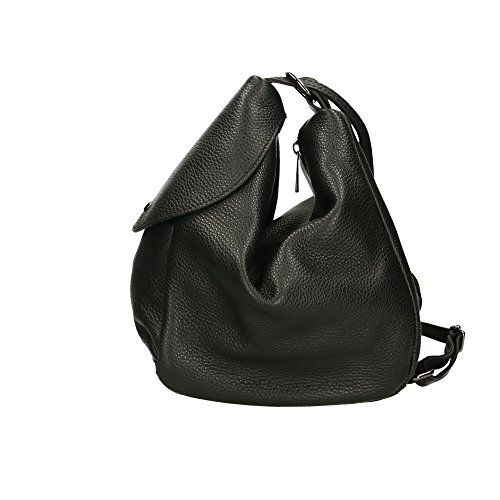 Borsa Backpack Made Nero Zaino 15x25x20 Pelle Aren Cm Italy Donna Vera In Da 5dUnq8x