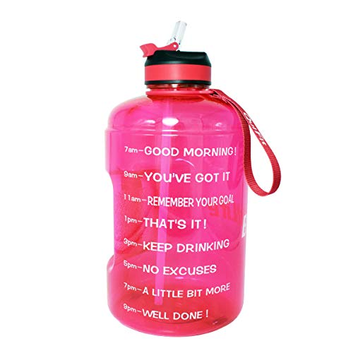BuildLife Gallon Motivational Water Bottle with Time Marked to Drink More Daily and Nozzle,BPA Free Reusable Gym Sports Outdoor Drinking Large(128OZ) Capacity Water Jug (Pink, 1 Gallon) ()