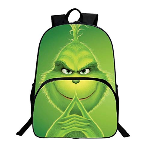 Grinch Green - Green Monster Grinch Backpack 3D Printed School Bags, 100% Polyester School Rucksack Unisex Laptop Backpack for 6-15 Years Old Young Boys and Girls,3