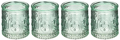 - Kate Aspen Vintage Blue Glass Tealight Holder (Set of 4)