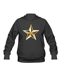 Nautical Star Gold Logo Women Hooded Sweatshirt Black