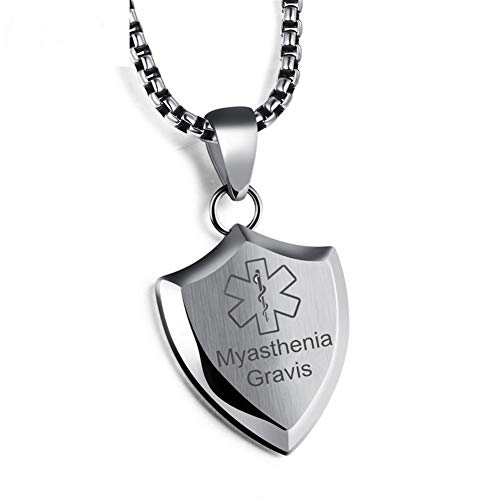 Sunling Custom Name ICE Engraved Surgical Steel Medical Alert Necklace Shiled ID Emergency Alarm Pendant,SOS Life Saver for Adults,Silver