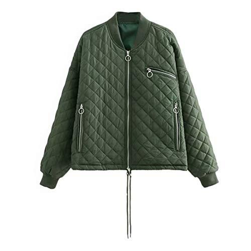 ZFFde Invierno Sólido de manga larga collar de pie chaqueta de cremallera de diamante cálido abrigo de mujer gruesa (Color : Green, tamaño : S)