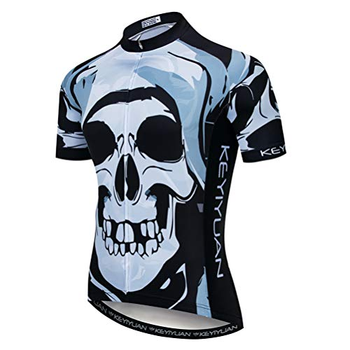 Jersey Short Sleeve with Rear Zippered Bag Reflective Ghost Skull Size S ()