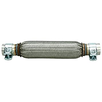Universal Flexrohr Montage ohne Schwei/ßen Flexst/ück Wellrohr Hosenrohr Auspuff Abgasanlage Auspuff-Montagepaste 60g aus Edelstahl flexibles Rohr 40 x 200 mm Interlock mit 2 Schellen