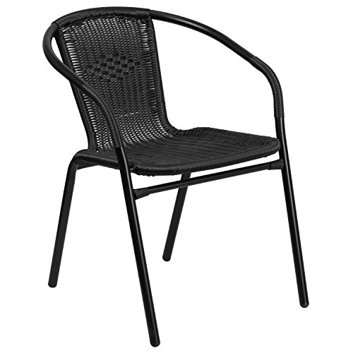Flash Furniture Black Rattan Indoor Outdoor Restaurant Stack Chair