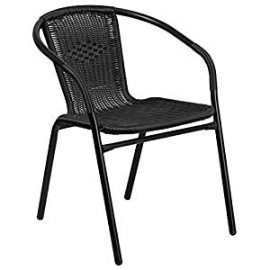 Flash Furniture 4 Pk. Rattan Indoor-Outdoor Restaurant Stack Chair