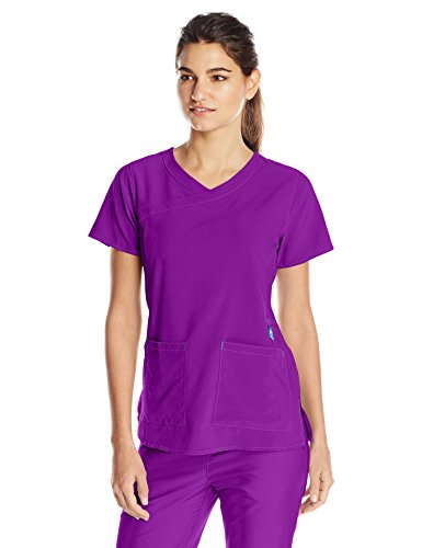 Carhartt Women's Cross-Flex Yneck Scrub Top, Electric Violet Small