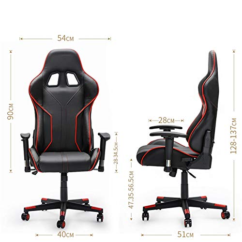 LANNY Black Gaming Chair High-Back PU Leather Computer Desk Racing Style Office Game Furniture, Adjustable Hight with Headrest and Lumbar Support