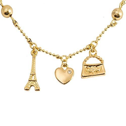 Gold heart Bracelets for Girls with Eiffel Tower Chain Charm Fashion Baby Bracelets (gold heart with Eiffel Tower)