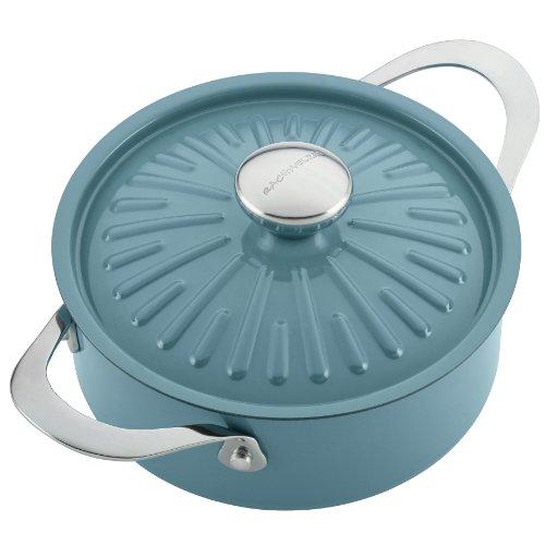 Rachael Ray Cucina Hard Porcelain Enamel Nonstick Covered Round Casserole, 2.5-Quart, Agave Blue