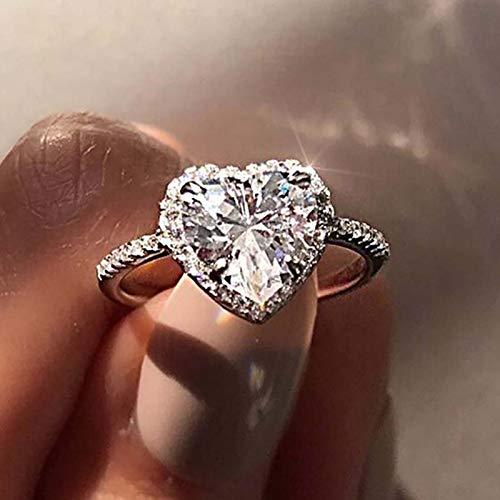 Clacce Damenring mit Funkelnden Kristallen Exquisite Herz aus Ring Frauen Verlobung Hochzeit Schmuck Zubehör Geschenk (9, Silber)