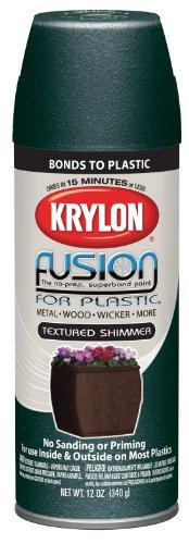 Krylon 2523-6 PK 'Fusion for Plastic' Forest Green Textured Shimmer Plastic Paint - 12 oz. Aerosol, (Case of 6)