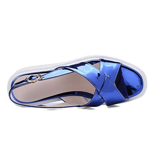 AllhqFashion Women's Buckle Open Toe Kitten Heels Microfiber Solid Sandals Blue J0bxNSd