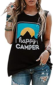 Itsmode Women's Happy Camper Round Neck Casual Tank Top Sleeveless Summer Shirts Blouses