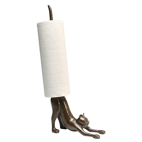 Cat Towel Holder - Paper Towel Stand - Yoga Cat Cast Iron Holder - Exclusive From What On Earth
