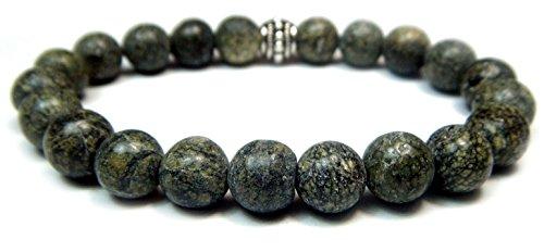 SERPENTINE 8mm Round Genuine Crystal Gemstone Beaded Bracelet on Elastic (Serpentine Bracelet)