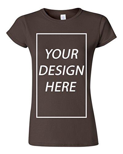 Junior Add Your Own Text Design Custom Personalized T-Shirt Tee (Medium, Dark (Personalized Dark Chocolate)