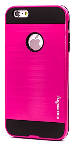 Maxessory [Metro] Premium Ultra-Thin Protective Armor Shell w/Slim Dual Layer Corner Hybrid Protective Silicone Cushion Cover Hot Pink Black For Apple iPhone 6s Plus (5.5 Inch) Case