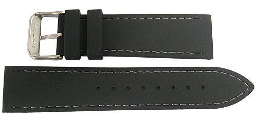 Fluco 20mm Black Silicone Rubber Grey-Stitch Watch Strap