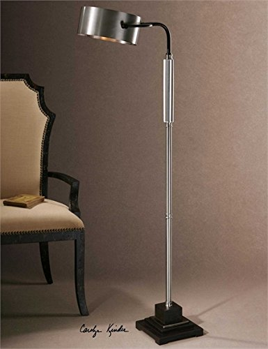 Chocolate Bronze Buffet (Ambient Lightly Antiqued Brushed Aluminum With Distressed Dark Chocolate Bronze Details Accented With A Thick Crystal Cylinder Floor Lamps)