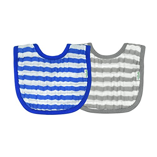 green sprouts Muslin Bibs Made From Organic Cotton (2 pack)| 4 absorbent layers protect from sniffles, drips, & drools | 100% Organic cotton muslin, Adjustable snap closure, Machine ()