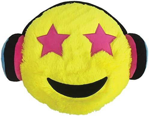 iscream YOLO Starry Eyed Music Fan 15 x 12 Furry Pillow with Embroidered Accents