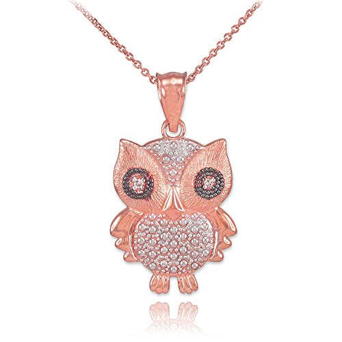 14k Two-Tone Rose Gold Diamond Owl Pendant Necklace Charm, 20