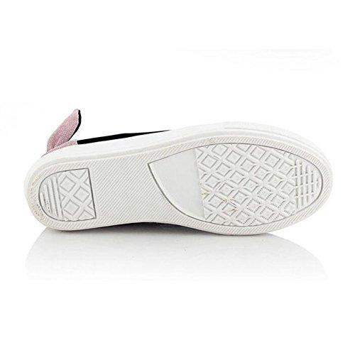 Summerwhisper Femmes Doux Bowknot Rivets Cloutés Plate-forme Sneakers Slip On Low Cut Chaussures Plates Rose