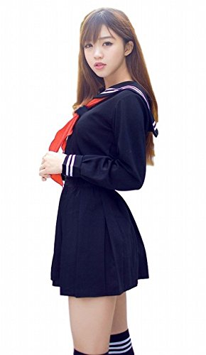 POJ Japanese High School Girls Uniform [ M / L / XL Navy Blue / White for Women ] (L, Navy Blue) (Spiderman Cosplay For Sale)