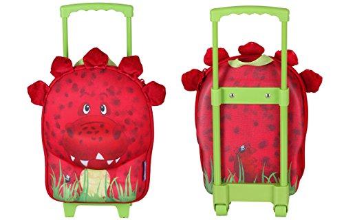 okiedog wildpack 80080 trolley para niños con motivo 3D y orejas de peluche DINOSAURIO, rojo DINOSAURIO rojo