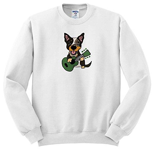All Smiles Art Music - Funny Cute Australian Cattle Dog Playing Guitar - Sweatshirts - Adult SweatShirt XL (ss_256454_4) ()