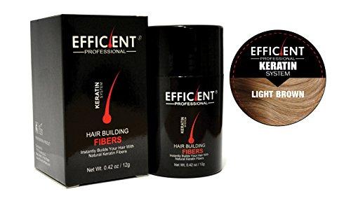 Hsr Perfect Effect - EFFICIENT Keratin Hair Building Fibers, Hair Loss Concealer Net Wt. 12gm/0.42 oz (Light Brown)